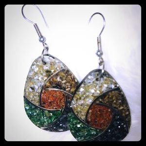 Gold green and black sparkly earring